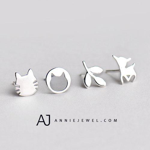 7105d9573481c Silver Earring Rabbit Kitty Cat Tiny Studs Earring Cute Gift Jewelry ...