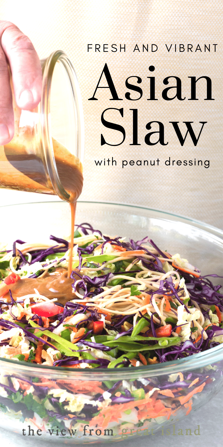 My vegan Asian Slaw with a creamy peanut dressing is a Chinese coleslaw with chow mein noddles that tastes so good you dont even realize how healthy it is