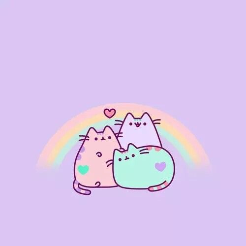 Rainbow Pusheen Neon CatKawaii WallpaperIpod