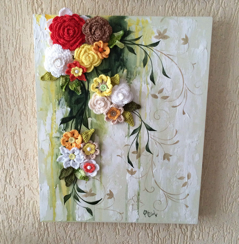 Cascata de flores. Tela 40 x 50 cm em MDF, textura com massa corrida ...