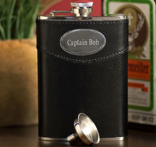Leather Wrapped Personalized Flask | Personalized Flasks | Engraved Flasks