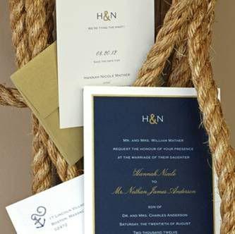 Navy and Yellow invitations