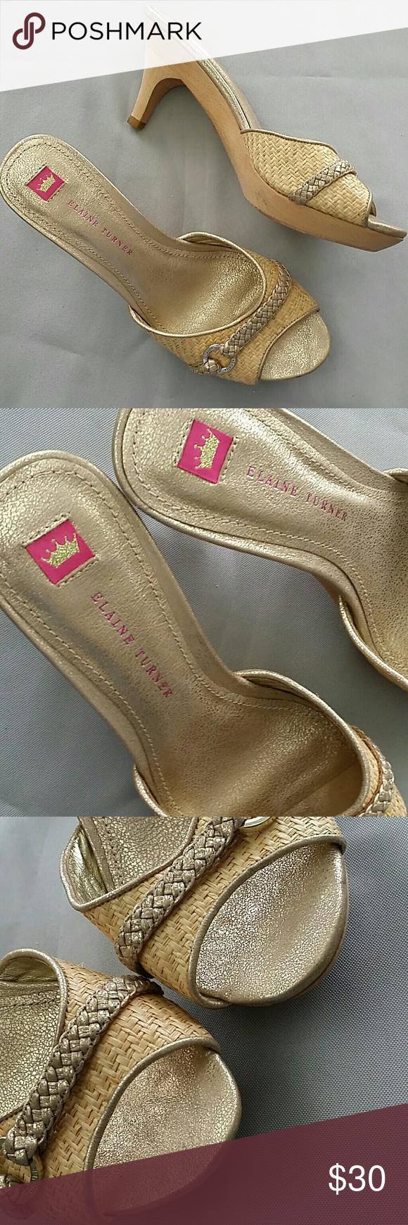 Elaine Turner Kitten Heel Sandals Nwot Gold Shimmery Heeled Sandals Size 7 5 Leather Upper Lining Sole Basket Kitten Heel Sandals Sandals Heels Kitten Heels