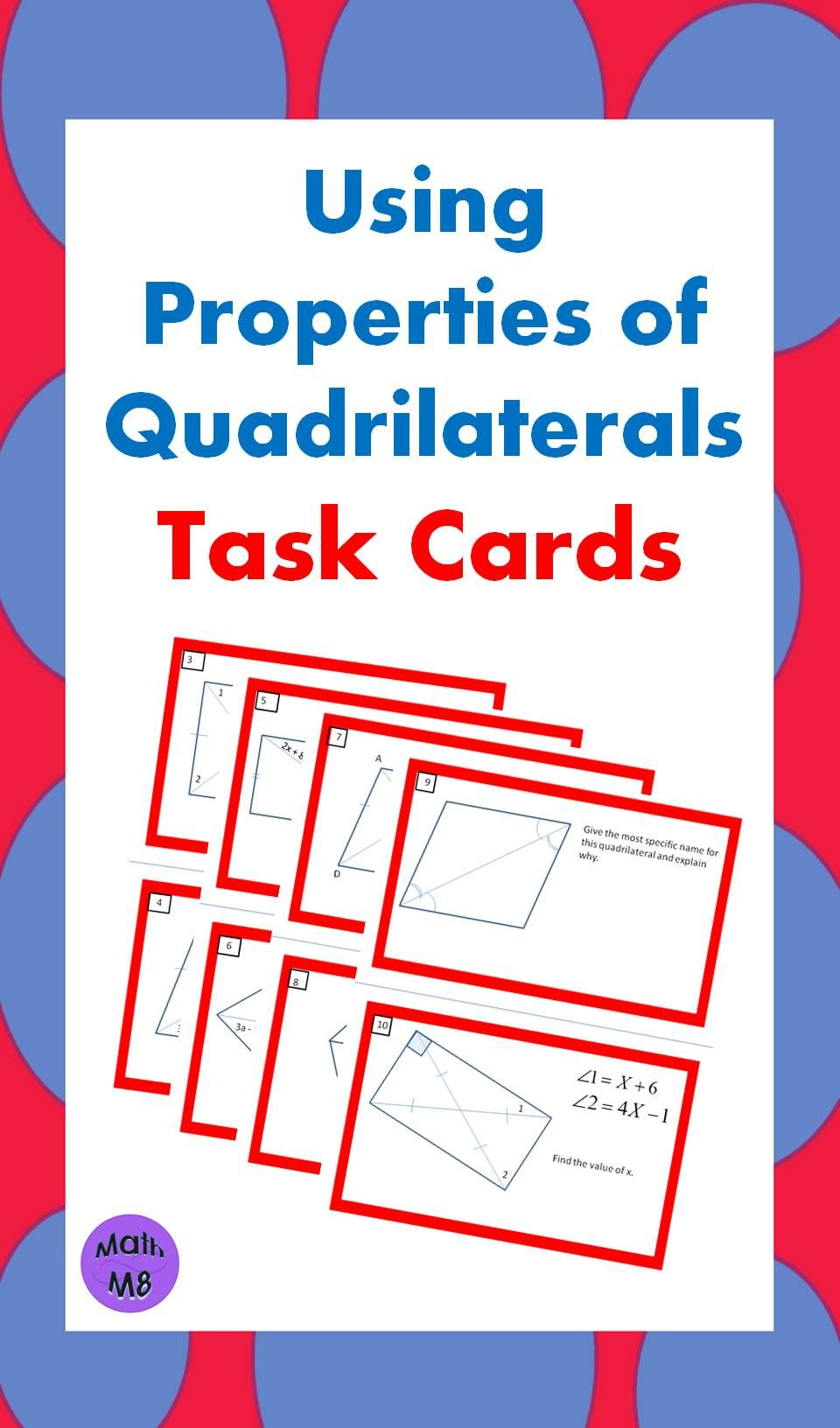 Workbooks worksheets on quadrilaterals and their properties : This is a wonderful activity to use after studying the various ...