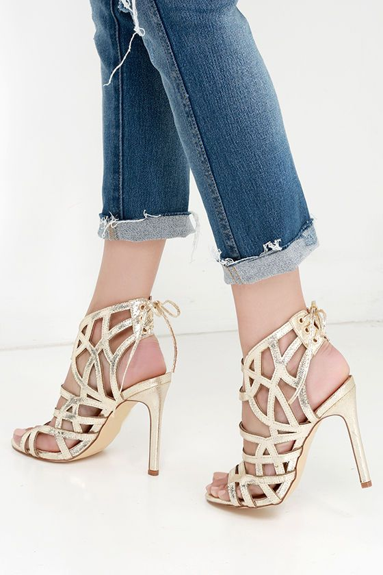 f2740b97f5ef Awe or Nothing Gold Caged Lace-Up Heels
