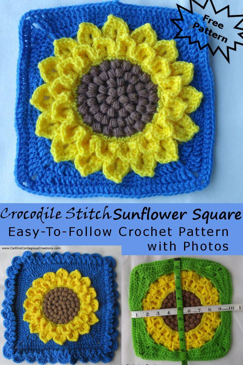 Crocodile Stitch Sunflower Square Crochet Pattern Crochet