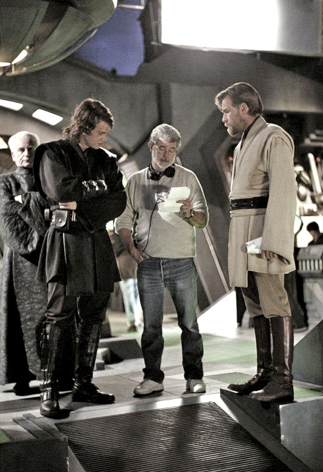 George Lucas Goes Over The Revenge Of The Sith Script With Hayden Christensen And Ewan Mcgregor While Ian Mc Star Wars Cast Star Wars Anakin Star Wars Outfits