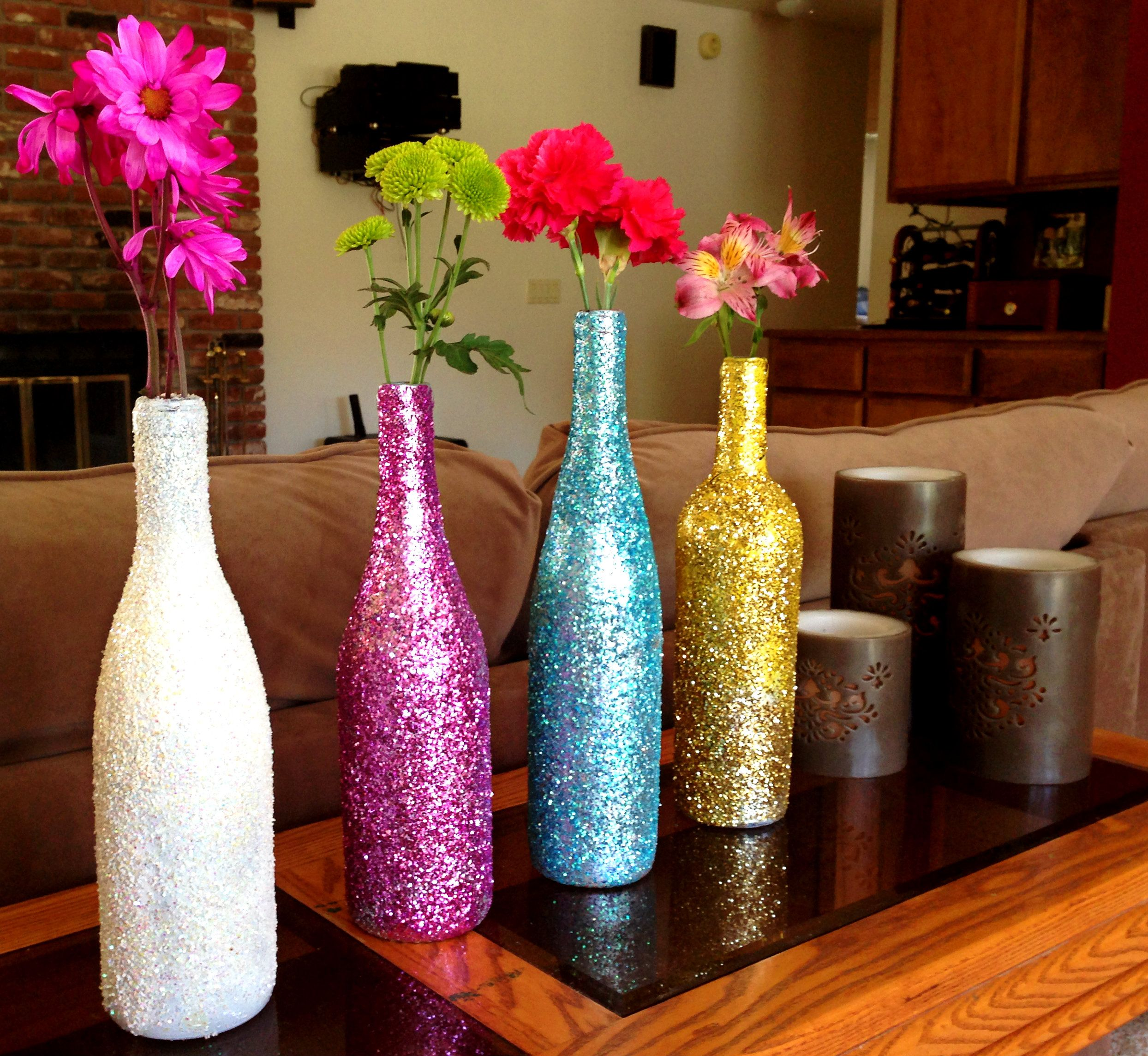 Decorating Wine Bottles With Glitter Creative Diy Apartment Decorating Ideas  Dorm Bottle And Wine