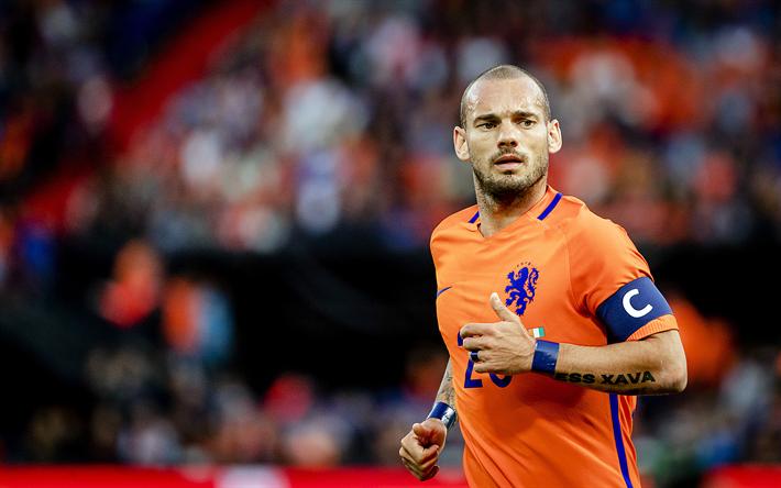 Lataa kuva Wesley Sneijder, 4k, jalkapallo, jalkapalloilijat, Hollannin Maajoukkueen, keskikenttäpelaaja