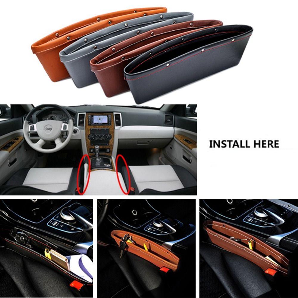 2Pcs Leather Catch Caddy Car Seat Catcher Gap Pocket
