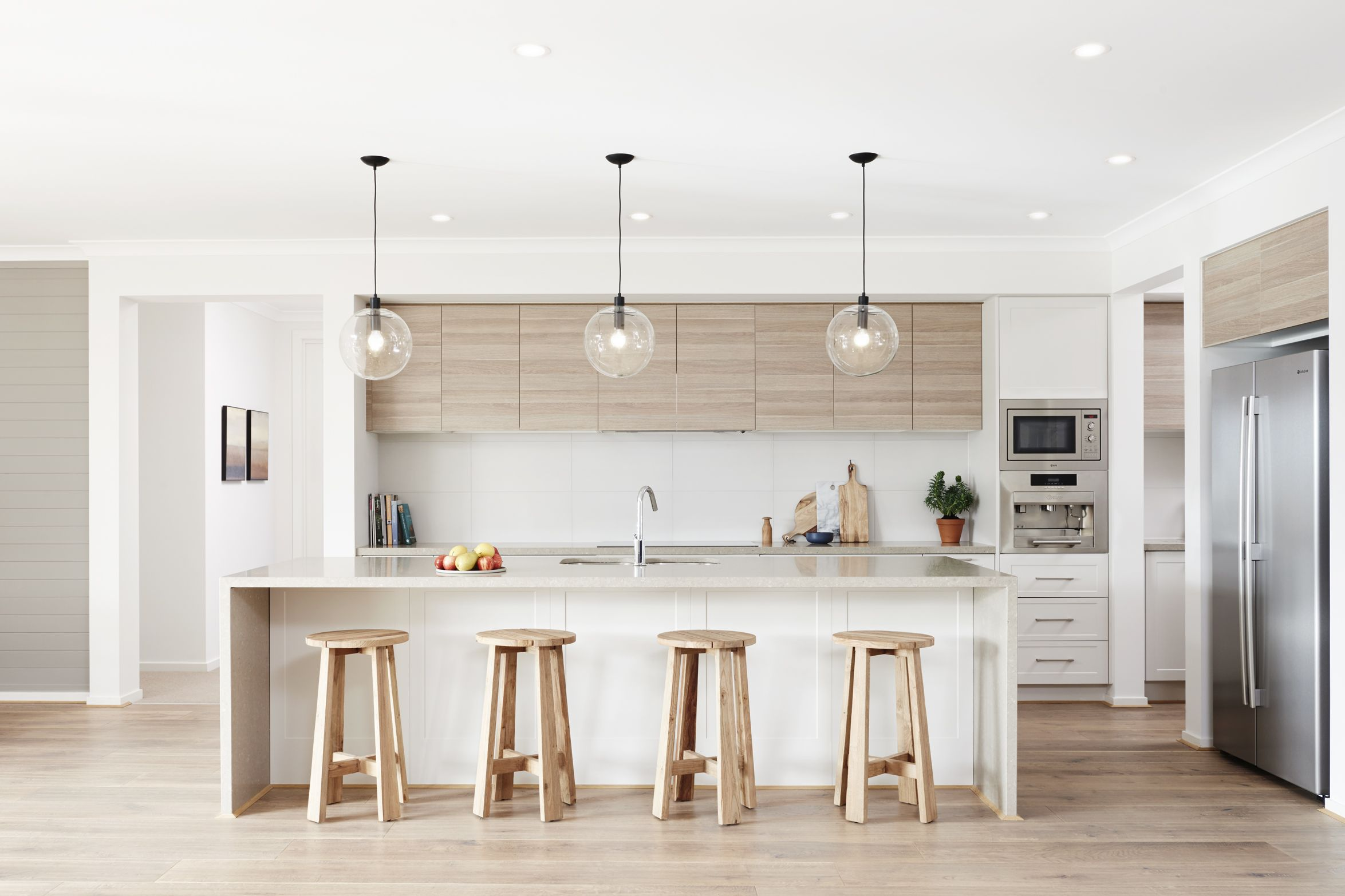 Madera Y Blanco Lamparas Colgantes Elegant Kitchen Design