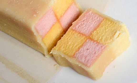 Slice Of Mr Kipling Battenberg Cake Cut Fresh From The Brick