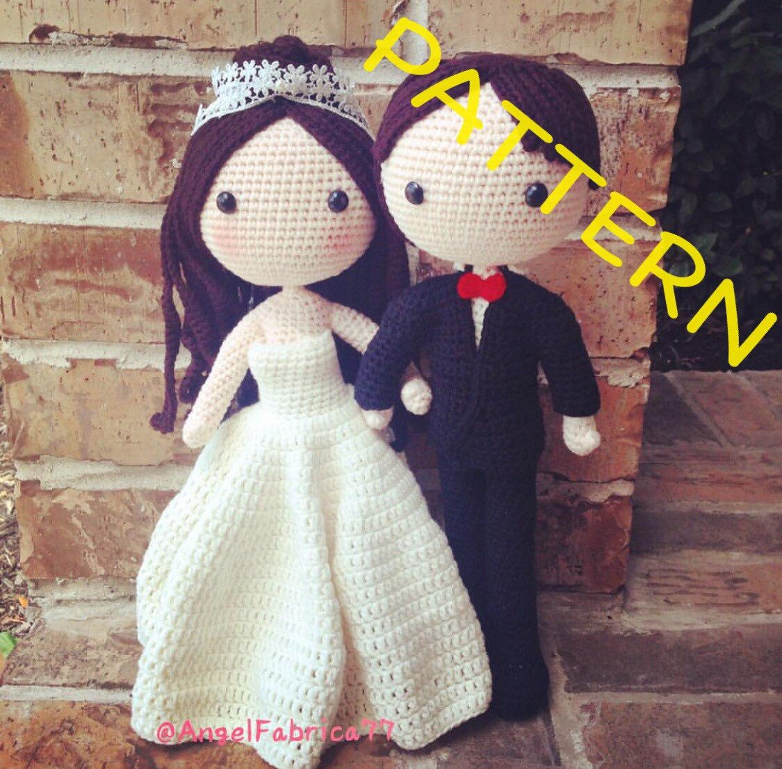 Wedding Doll Kit DIY Wedding Decor Amigurumi Wedding Kit Bride and ... | 1106x1125