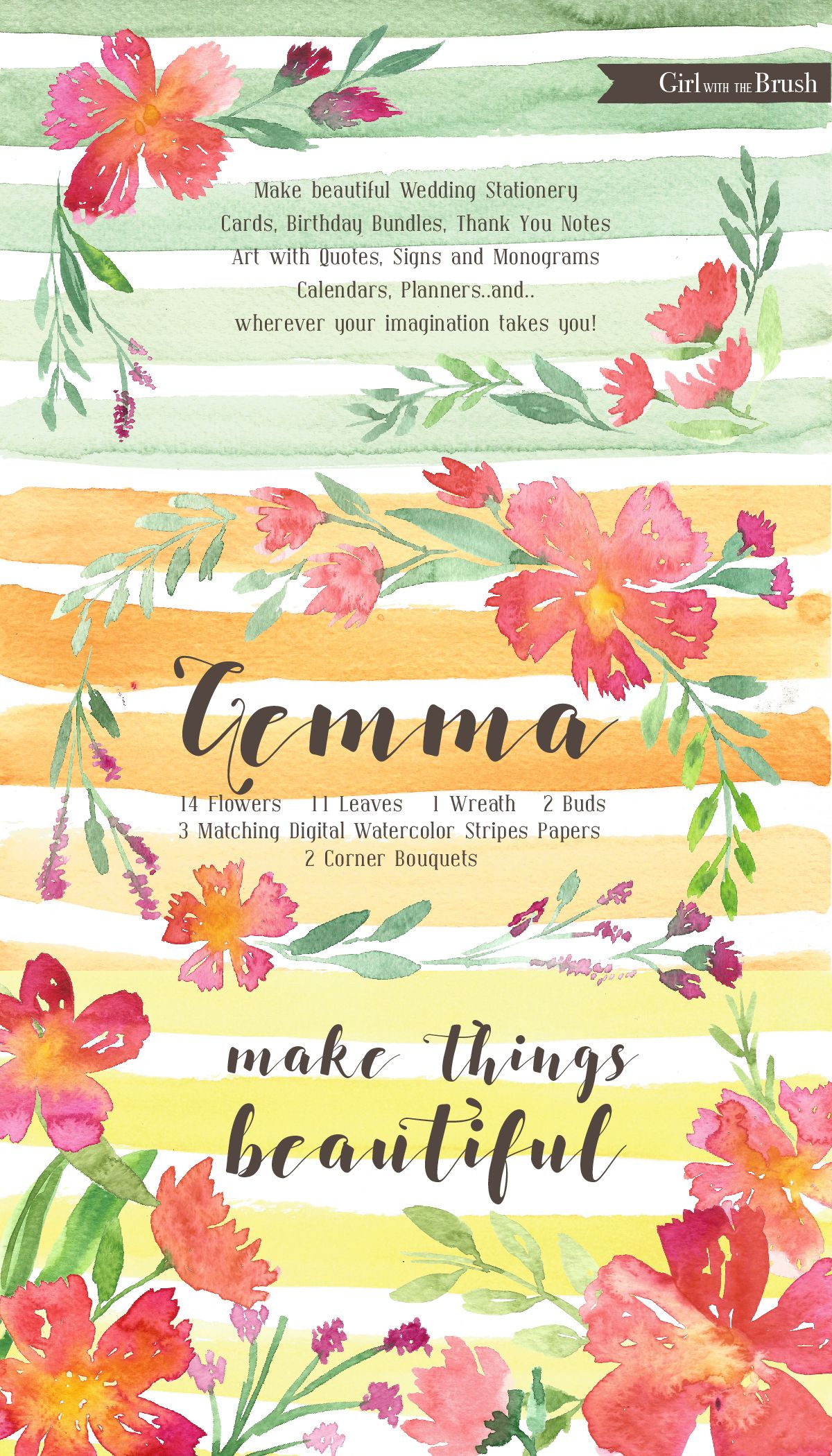 Floral Watercolor Clipart Set by girlwiththebrush on @creativemarket