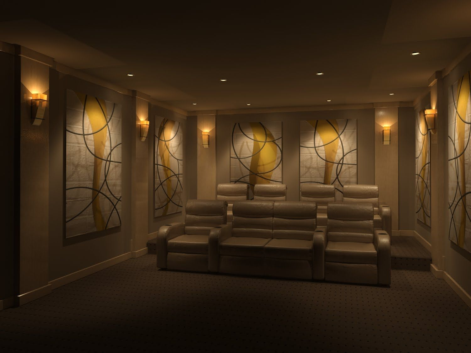 Charming Luxurious Home Theater Design With Beautiful Wallpaper Ideas And  Beige Soft Sofa A Part Of Charming Luxurious Home Theater Design W.
