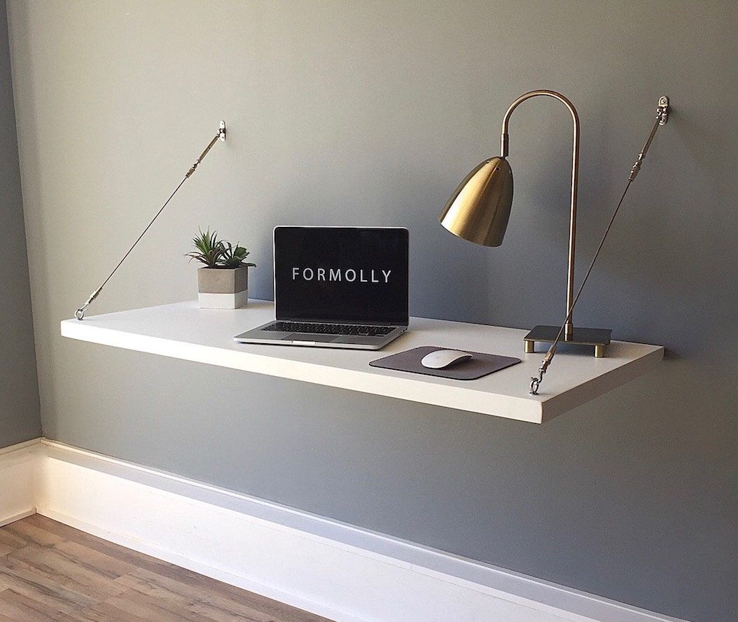 Escritorio Plegable Blanco De Formollydesks En Etsy Https Www Etsy Com Es Listing 511841985 Escritorio Plegabl Floating Desk Wall Mounted Desk Folding Desk