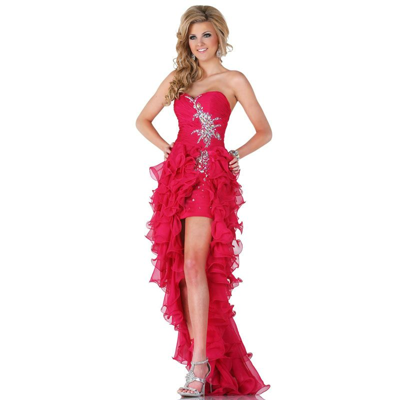 Click to Buy << Red Crystal Pleated Short Front Long Back Tiered ...