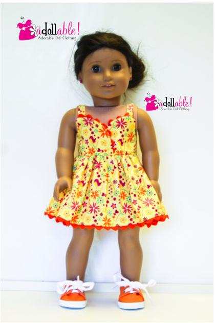 Fits like American Girl doll clothes, yellow/pink/orange sundress ...