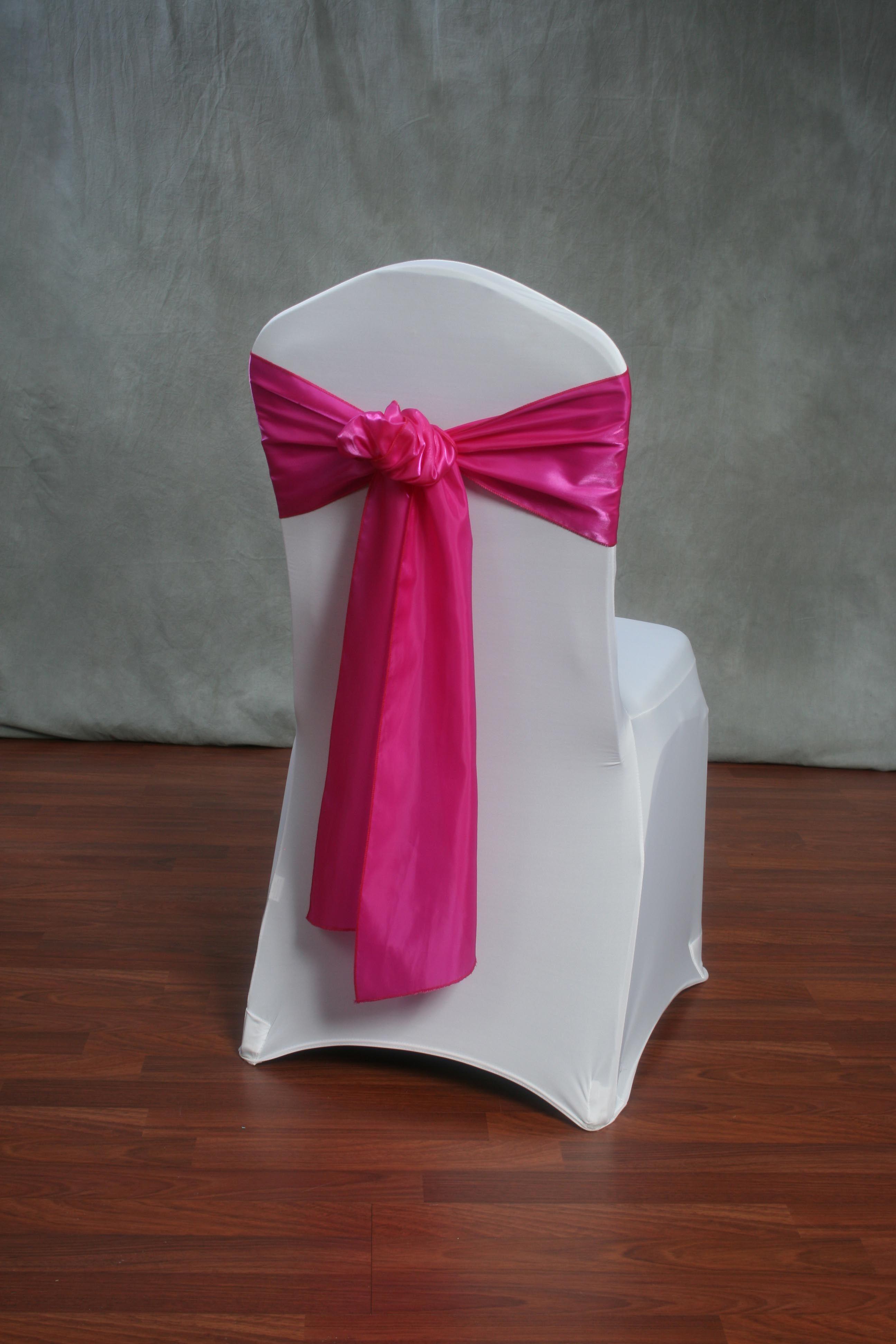 chair cover elegance antique wooden rocking styles beyond fuchsia organza satin sash on a white stretch