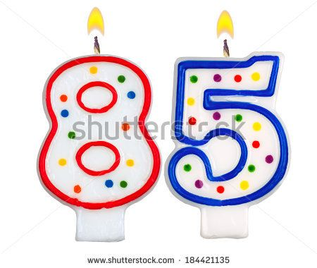 Birthday Candles Number Eighty Five Isolated On White Background