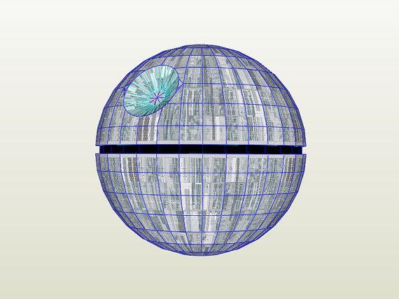 Death Star / Estrella de la Muerte, pepakura / papercraft. Star Wars movies by WordarStore.