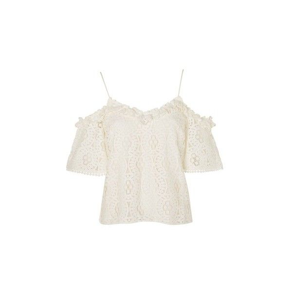 c7fe495276cec6 TopShop Lace Frill Cold Shoulder Top ( 68) ❤ liked on Polyvore featuring  tops