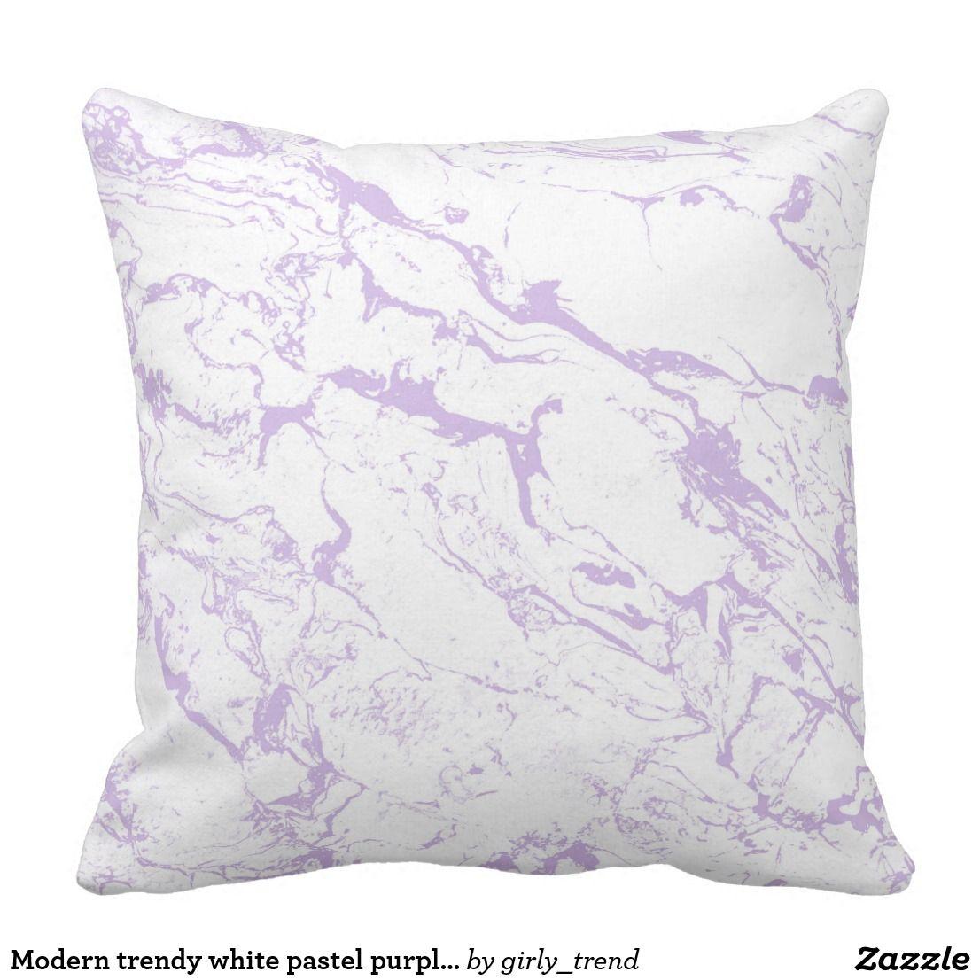 Modern Trendy White Pastel Purple Lavender Marble Throw Pillow