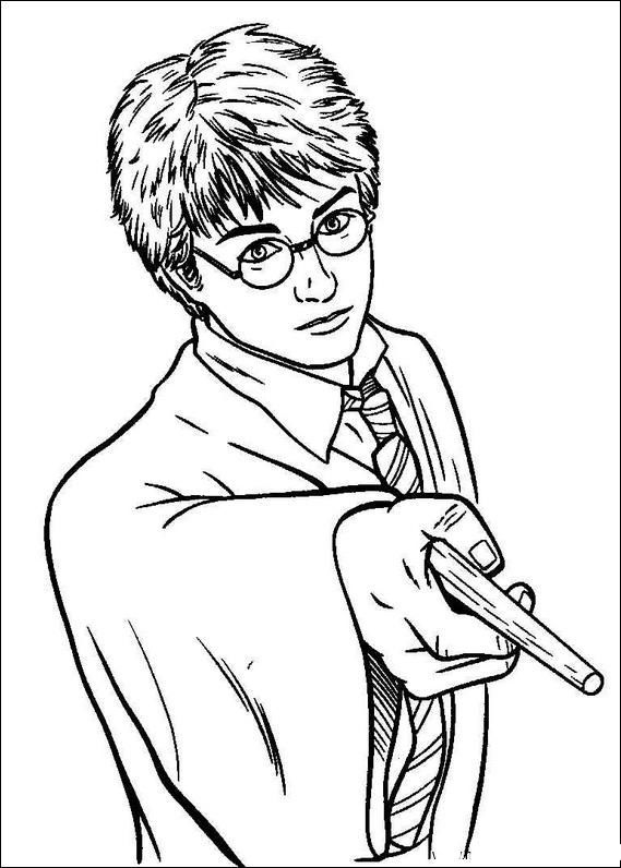 Harry Potter Holding A Magic Wand Harry Potter Coloring