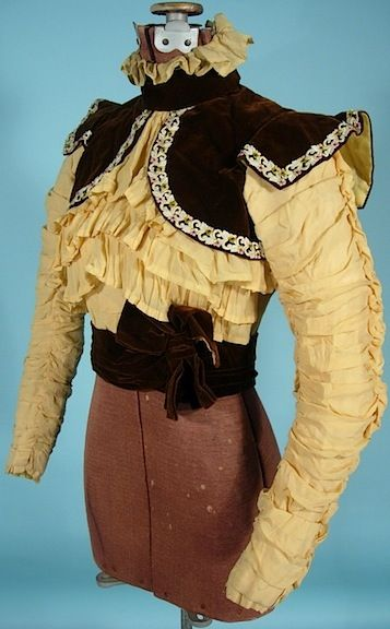 1897/1898 Victorian Bodice of Yellow Silk Crepe and Brown Velvet with Embroidery