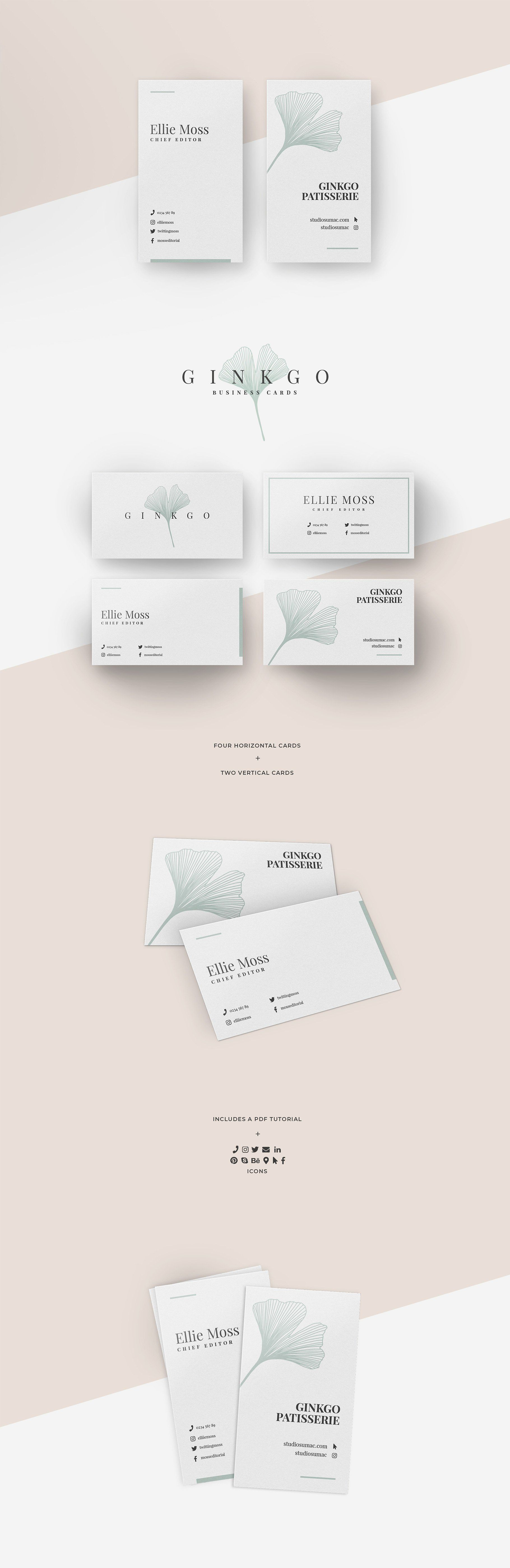 Ginkgo Business Card Templates Vertical Business Card Template Business Card Template Design Vertical Business Cards