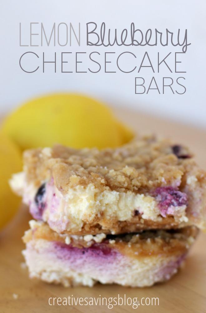 Lemon Blueberry Cheesecake Bars #lemonblueberrycheesecake