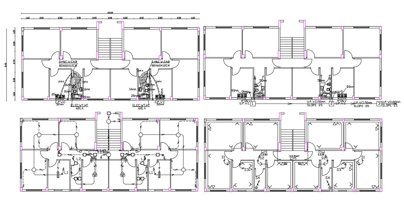 30' X 75' Apartment Electrical And Plumbing Plan DWG File