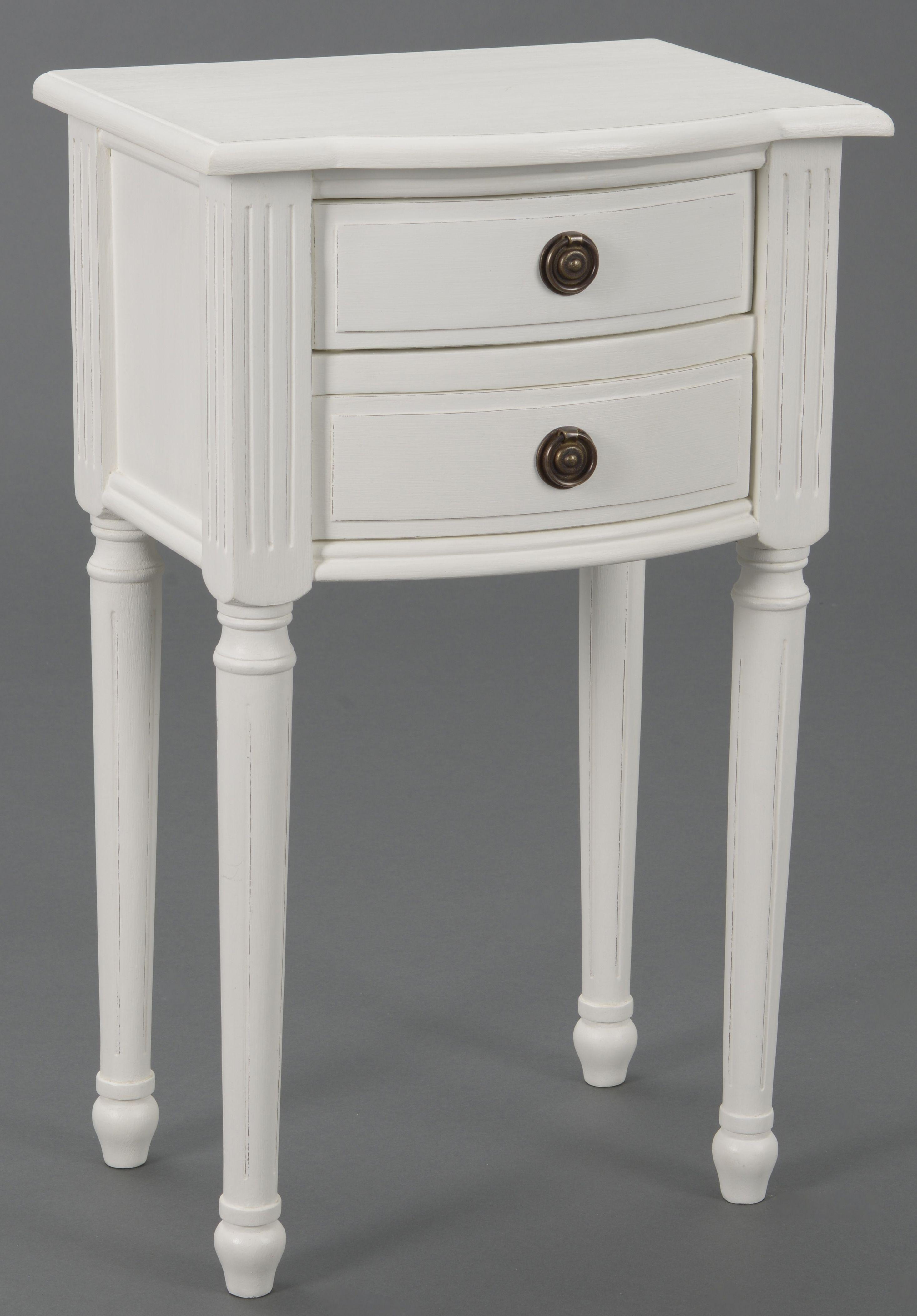 Table De Chevet Classique Chic 2 Tiroirs Agathe L 40 X P 30 X H 65 Blanc Antique Amadeus Infos Et Dimensions Longueur 40 Cm Furniture Home Decor Nightstand