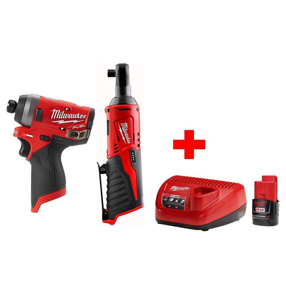 Milwaukee M12 12 Volt Lithium Ion Cordless 3 8 In Ratchet Fuel 1 4 In Impact Driver Combo Kit With 1 2 0ah Battery Charger 2457 20 2553 20 48 Combo Kit Milwaukee Impact Driver Impact Driver
