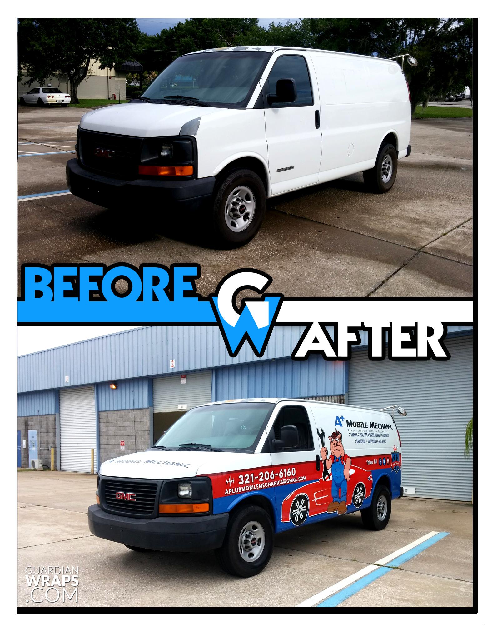 A Mobile Mechanics Business Van Custom Vinyl Wrap Guardian Wraps Before And After