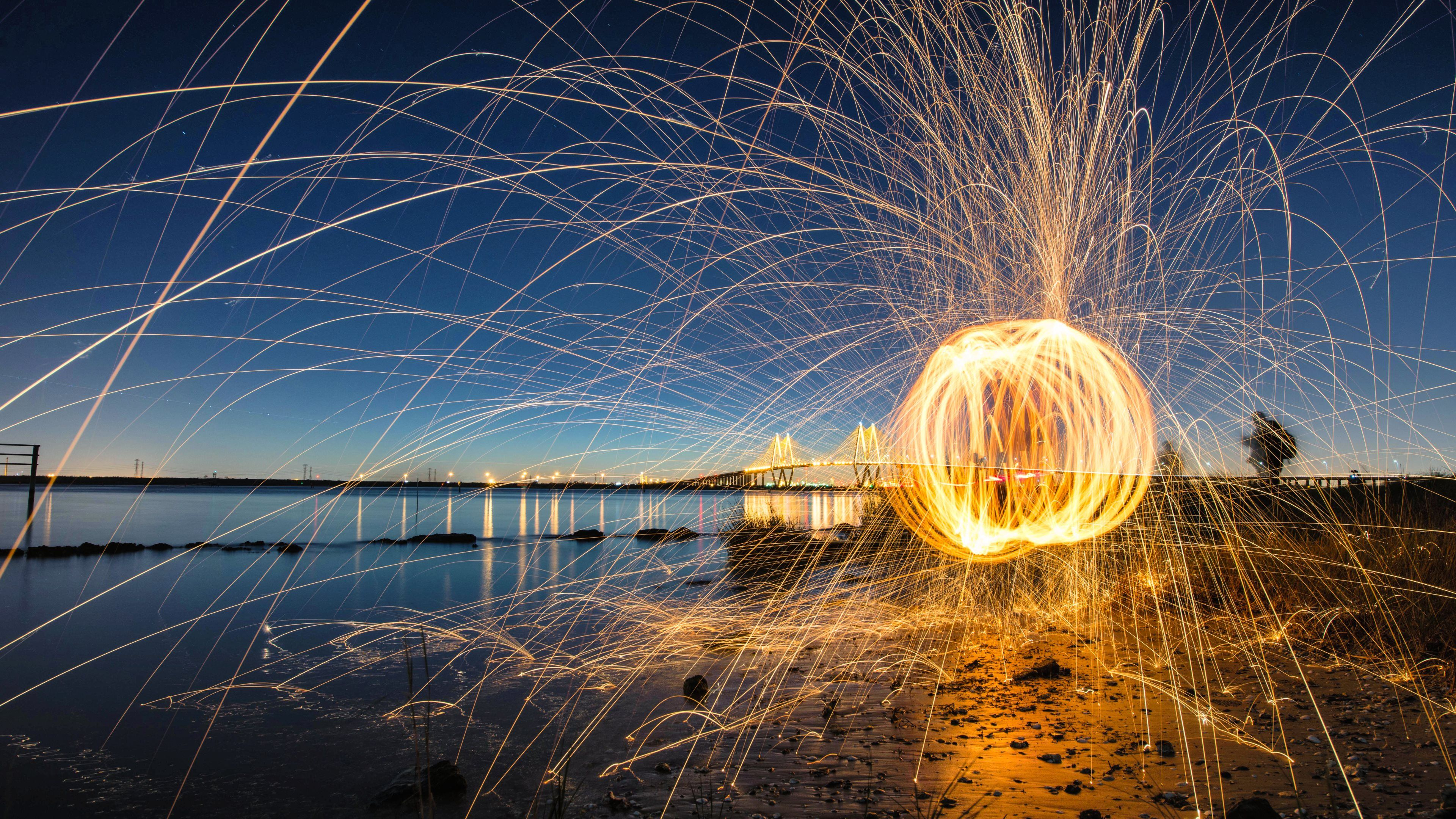 Photography Fireworks Ocean Bridge Hd 4k