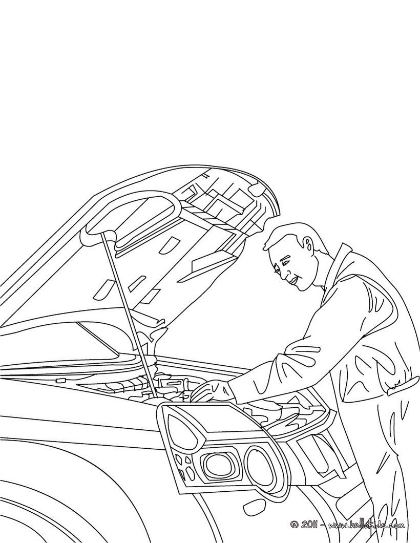 Mechanic job coloring page. Amazing way for kids to discover job ...