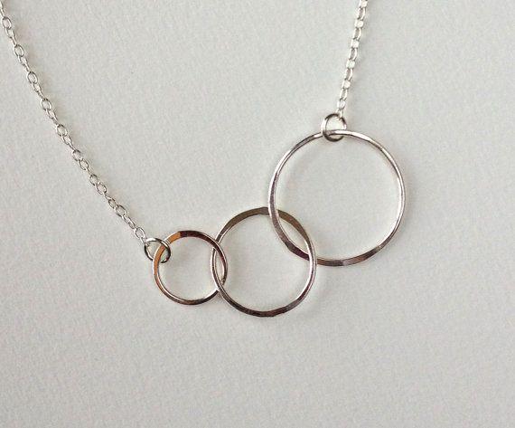 3 Circles Silver Necklace Silver Circle Necklace Minimalist Necklace Simple Necklace Simple Modern Necklace Modern Linked Circle Necklace
