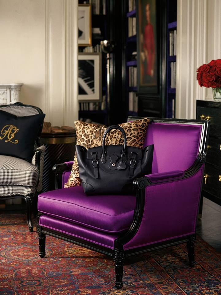 Ralph Lauren Home Collection Purple Couch With Leopard