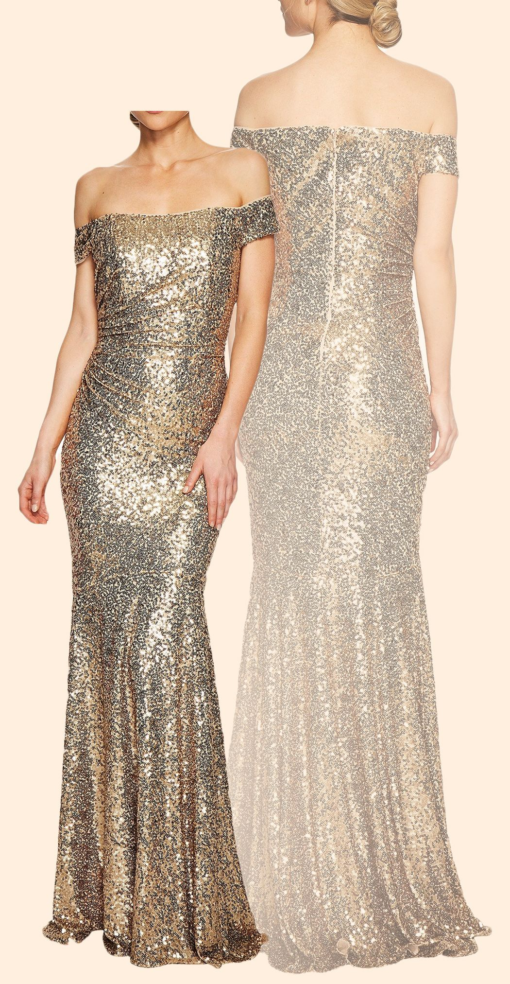 Off the Shoulder Sheath Sequin Long Prom Dress Simple Gold Formal ...