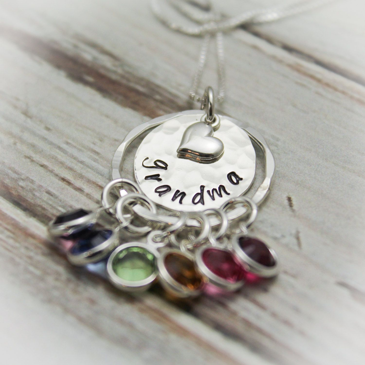 LEATHER PEARL NECKLACE with a Hand stamped Sterling Silver Pendant Susan