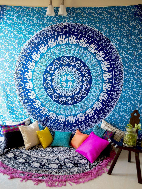 Folkulture Blue Elephant Bohemian Hippie Tapestry Wall