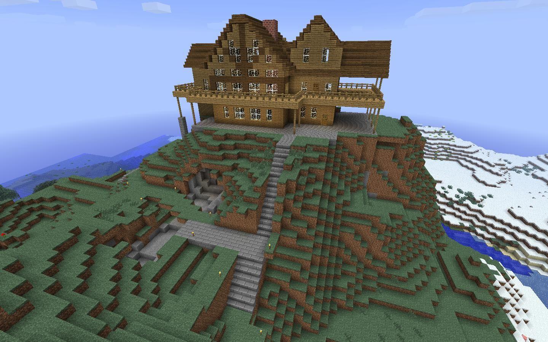 Hillside Minecraft Redstone Mansion – Fondos de Pantalla
