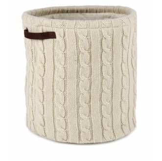 Cream Cable Knit Storage Bag