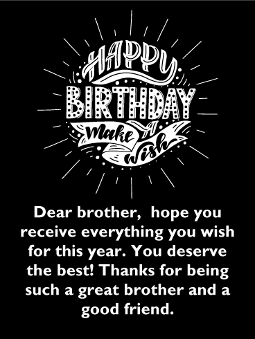 Make A Wish Classic Happy Birthday Card For Brother This Classic