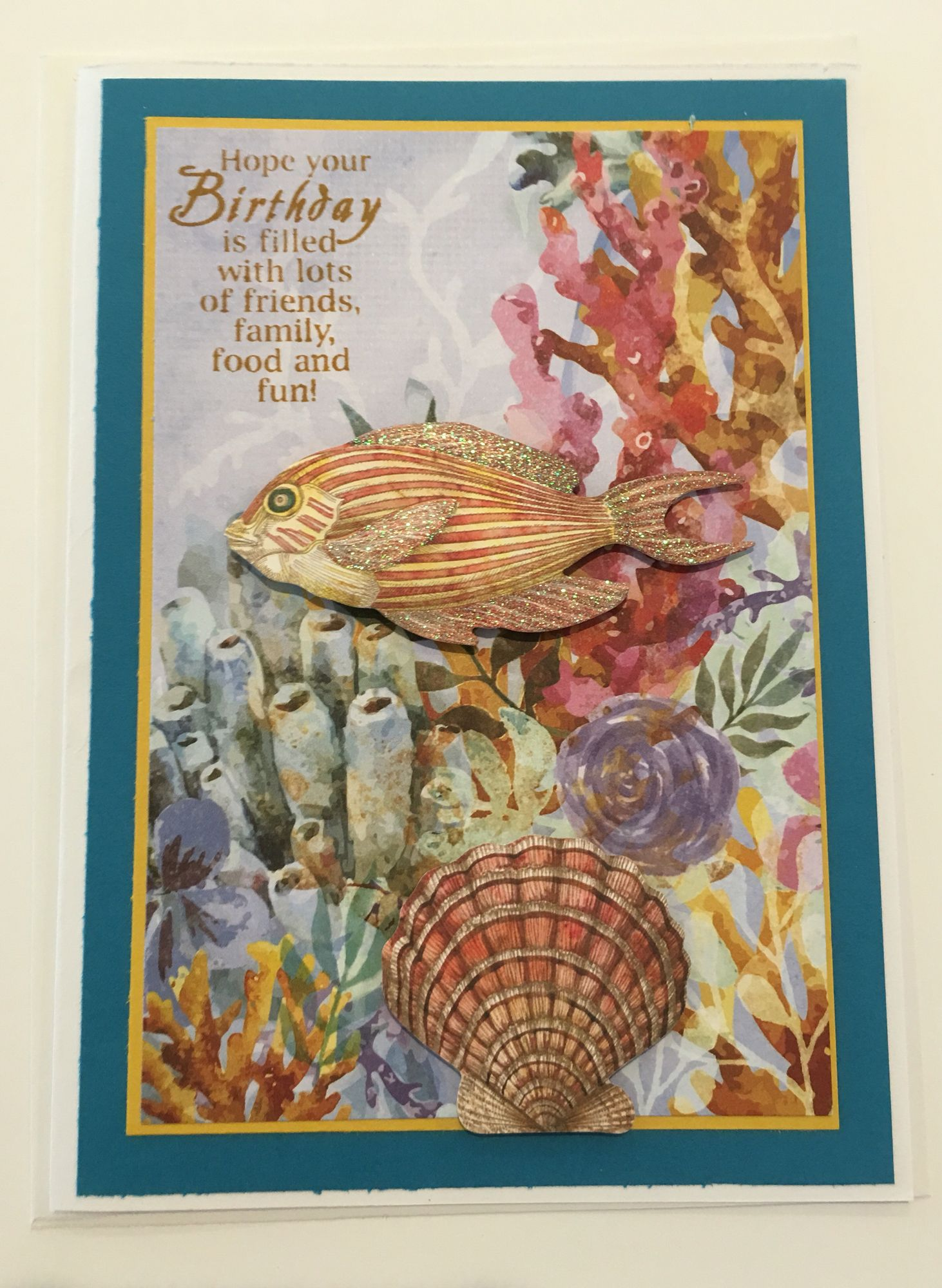 CBY Coral reef birthday greeting card with 3D fish and shell