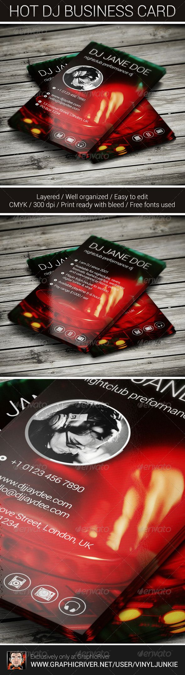 Hot DJ Business Card | Dj business cards, Business cards and Dj