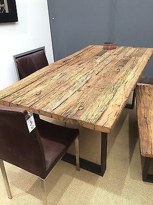 Details zu Esstisch Tisch Thar 200x100cm Altholz Massiv Industrie