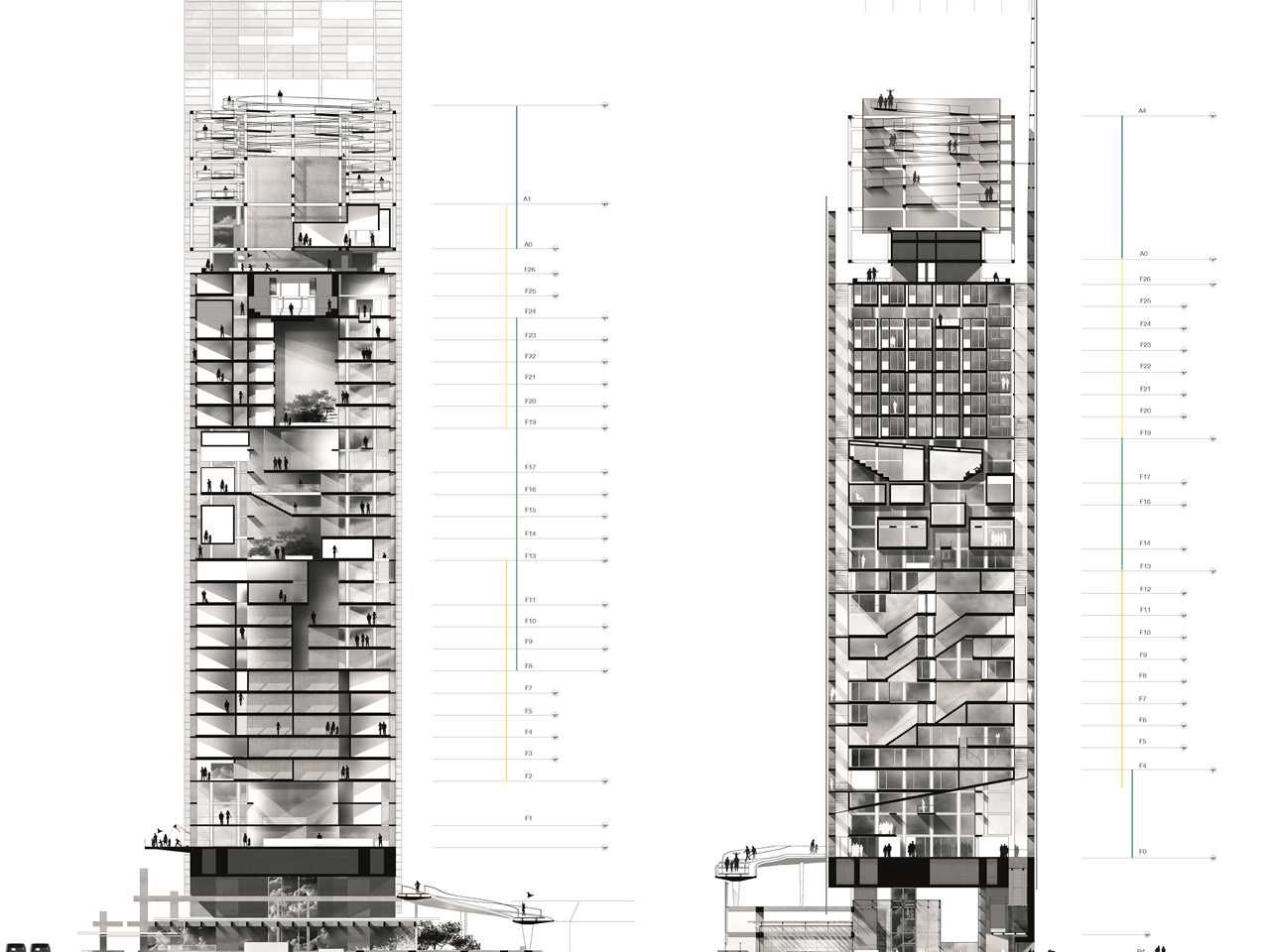 High rise building archi sections pinterest for Modern high rise building design