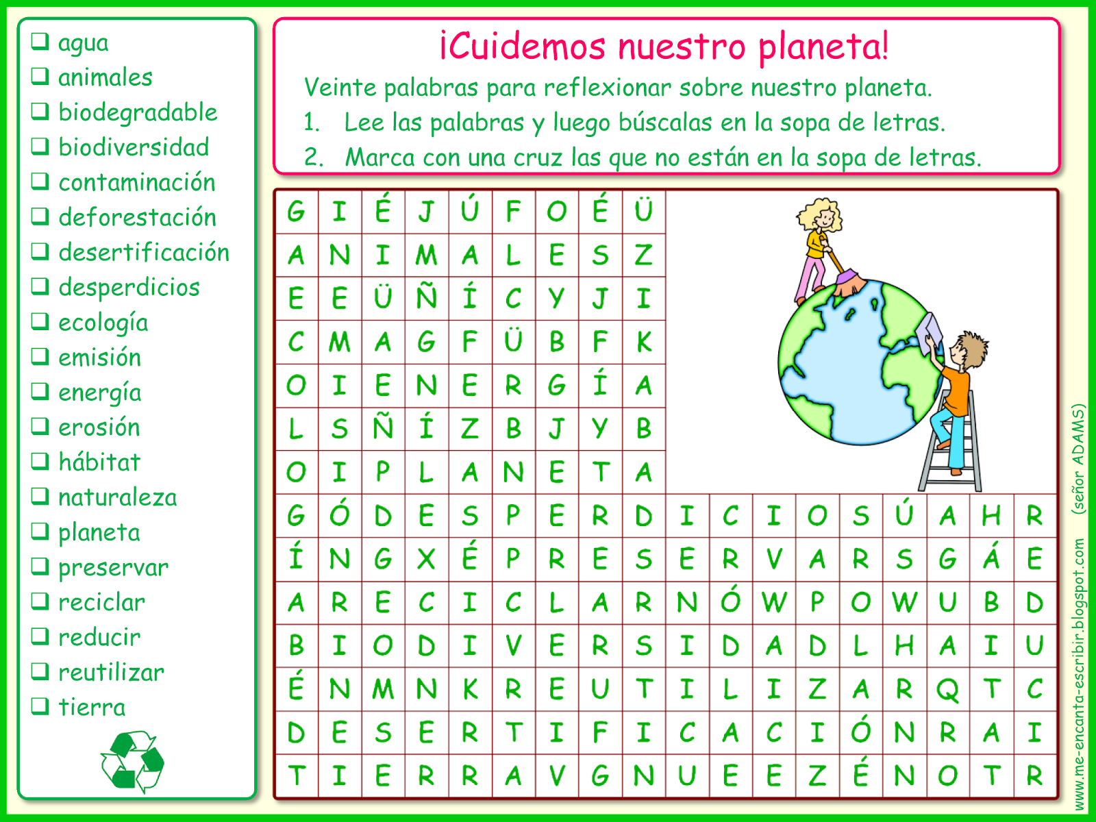 Me Encanta Escribir En Espanol Cuidemos Nuestro Planeta Sopa De Letras